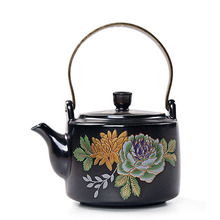 Zen Japanese Style Black Pottery Peony Teapot 310ml Vintage Ceramic Kung Fu Tea Set Tea Pot with Tea Filter Creative Home Decor