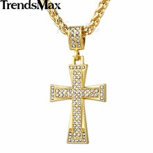 Trendsmax Gold Color Bling Shining Cross Angle Wing Cupid Necklace Pendant Paved Clear Rhinestones Womens Girls Jewelry GP68
