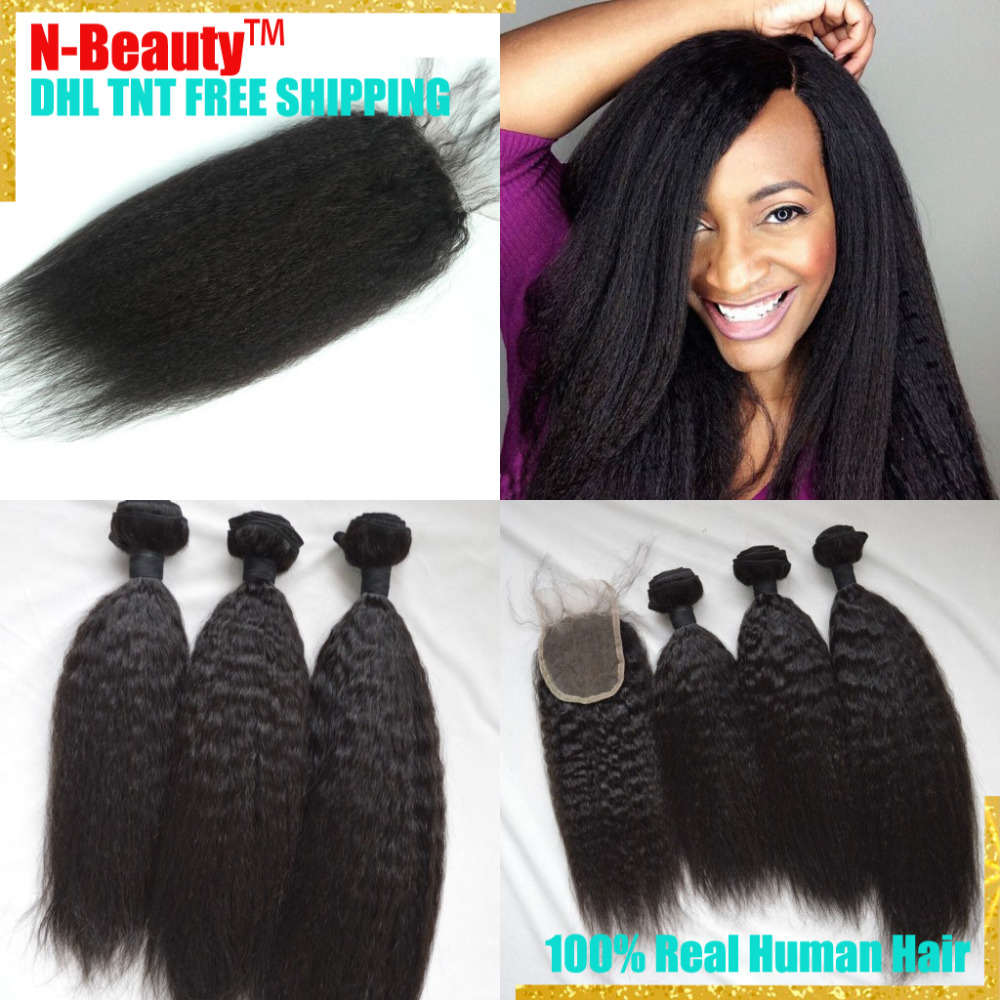 10a Ali Natural malaysian Coarse Yaki virgin hair with closure 100 Kinky Straight cheap human hair weave wefts with lace closure<br><br>Aliexpress