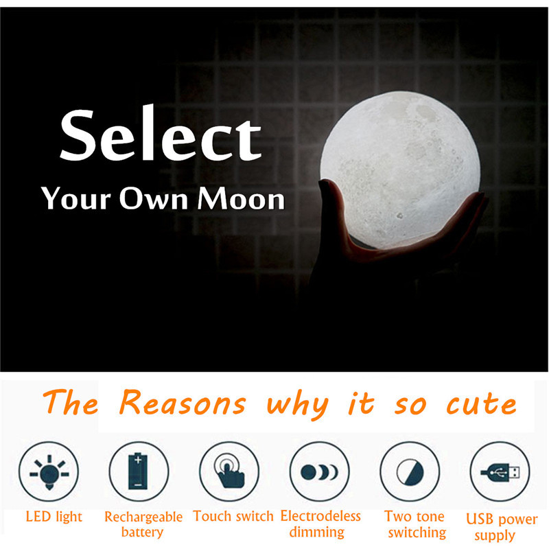 Chiclits LED Moon Lamp 3D USB Magical Moon Night Light 10CM Table Touch Sensor Color Changing Home Bedroom Decoraction Child Kid Girl Gift (12)