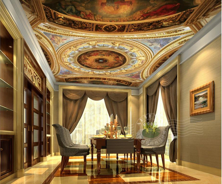 3d Ceiling Wallpaper Resplendent Palace interior Home Interior Decor Living Room European Style Wallpaper On The Ceiling<br>