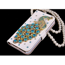Bling Diamond Crystal Peacock Leather Flip Wallet Phone Case Rhinestone Cover For Samsung Galaxy S7 edge Iphone 7 6 6S Plus 5S(China)