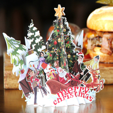 3D Pop up Cards Merry Christmas Origami Paper Laser Cut Postcards Gift Greeting Cards Handmade Blank Christmas Party(China)