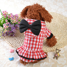 Bowknot Fashion Warm Dog Coat Dogs Winter Hat Hoodie Jackets Plaid Pet Clothes Supplies