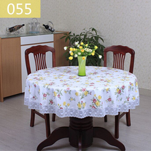 Pastoral Waterproof PVC Round Table Cloth Oilproof Floral Printed Lace Edge Plastic Table Covers Anti Hot Coffee Tablecloths