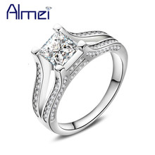 Almei 5%Off Rings For Women Silver Color Ladies Ring Square Bague Zircon CZ Stone Womens Jewelry Chinese Market Online HR280(China)