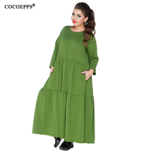 Buy COCOEPPS New Loose 5XL 6XL Plus Size Dress Women Solid Long Sleeve Casual Long Maxi Dress Large Size 2018 Spring Women Clothing for $20.98 in AliExpress store