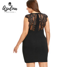 Buy AZULINA Black Club Party Sexy Dress Women Plus Size 5XL Lace Trim Surplice Bodycon Dresses V-Neck Sleeveless Vestidos De Fiesta for $11.99 in AliExpress store