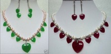 Nobility  NEW  choker 2 color-white pearl &green/red heart gem necklace earrings set    mujer for women silver-jewelry