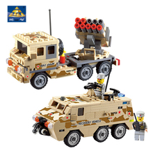 KAZI 4 Styles Military Building Blocks Armored Vehicle Truck World War Brick Model Block Educational Toys Compatible with lego