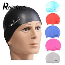 Relefree Swimming Caps Waterdrop Silicon Unisex Adult Waterproof Swimming Cap Cover Protect Ear