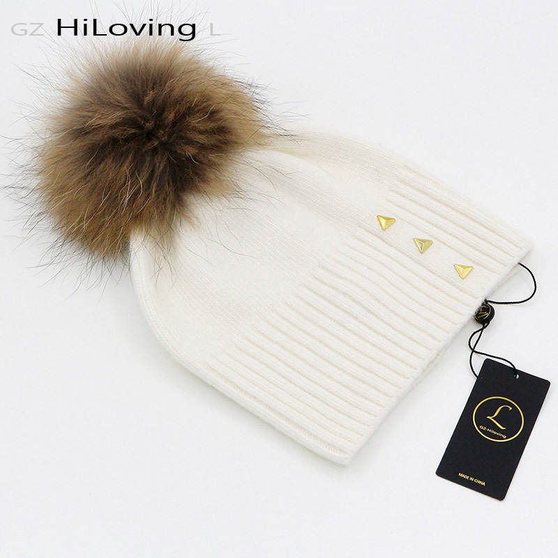 GZHilovingL Winter Womens Wool Real Natural Raccoon Fur Pompom Beanie Hats Casual Solid Color Soft Warm Winter Gorros Caps GirlsОдежда и ак�е��уары<br><br><br>Aliexpress