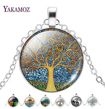 Wholesale Silver Plated Statement Necklaces For Women Fashion Jewelry The Tree Of Life Glass Cabochon Pendant Necklaces Collares