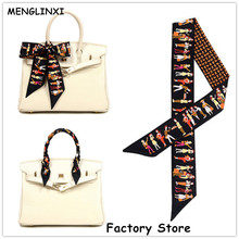 MENGLINXI Bag Twilly 2017 Brand Letter Small Silk Scarf For Women Paris Holiday Print Headband Handle Bag Ribbon Long Scarves