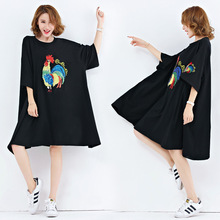 Plus Size Women Dress Embroidery Print Tops Loose T-Shirt Cotton European Black Female Fashion A-Line Dress Fat Large Size 100KG