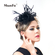 ShanFu Vintage Women Sinamay Loop Hair Fascinators with Clip Flower Headband Hair Acessories for Wedding Tea Party SFC12209(China)