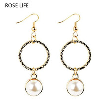 ROSE LIFE Simple Wind Symmetrical Metal Ball Pearl Earrings Female Fashion Wild Texture Geometric Ear Earrings Sieraden Costume