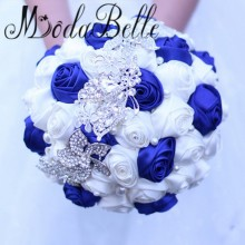 Buy Handmade Bling Brooch White Royal Blue Wedding Bouquet Crystal Pearl Satin Bouquet De Mariage 2017 Vintage Bridal Bouquet for $37.12 in AliExpress store
