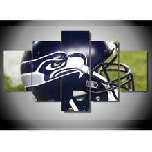 5 Pieces Modern Seattle Seahawks Rugby Helmet Canvas Paintings on Wall Art for Home Decorations Wall Decor Canvas Painting Art