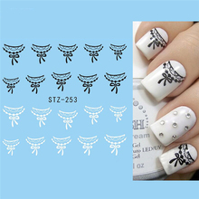 1 Sheet Black/White Lace Water Transfer Nail Art Manicure Tips Stickers Decals DIY Decoration Sexy Nail Art Accessories LASTZ253
