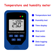 Digital Weather Station temperature humidity meter thermometer hygrometer Time display Data logging heat index -10 to 50C(China)