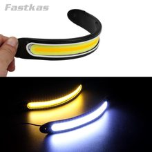 LED DRL Flexible Cars Daytime Running Light Waterproof COB White Color Day Light + Yellow ColoFog Light Turning Signal 12v 20w(China)