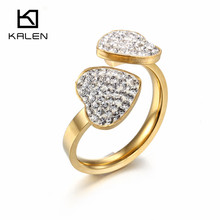 Kalen New Cheap Women Rings Stainless Steel Italy Gold Color Full Rhinestone Heart Rings For Romantic Engagement Wedding Jewelry(China)