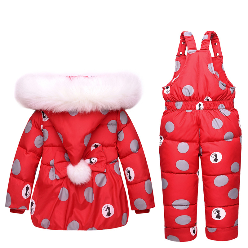 Baby Winter Down Clothes Set Kids Girl Warm Hooded Coat+Zipper Overall Snow Wear Suit Children Fashion Duck Down Jacket Jumpsuit (4)