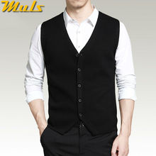 Mens vest sweaters casual style wool knitted single breasted men cardigan vest big size 4XL Muls brand Gray Black Navy MS16007(China)
