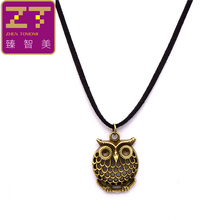 New Fashion Pure Black Velvet Ribbon Retro Owl Pendants Necklace Bijoux Maxi Statement Long Necklace For Women And Men Jewelry(China)