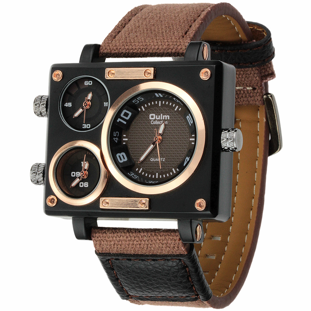 Vogue Mens Collection Black Rectangle Case Three Quartz Time Zones Military Canvas Fabric and Leather Band Sports Wrist Watches<br><br>Aliexpress