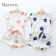 Hurave 2pc Casual Kids Clothing Baby Girls Clothes Sets Summer Heart Printed Girl Tops Shirts + Shorts Suits Children's Clothing