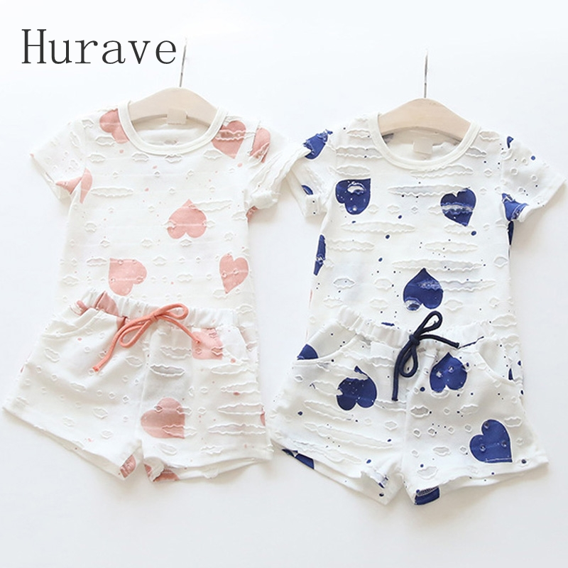 Hurave 2pc Casual Kids Clothing Baby Girls Clothes Sets Summer Heart Printed Girl Tops Shirts + Shorts Suits Children's Clothing(China (Mainland))