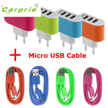 CARPRIE Hot Product 3.1A Triple USB Port Wall Home Travel AC Charger Adapter EU Micro USB Cable battery universal phone charger(China)