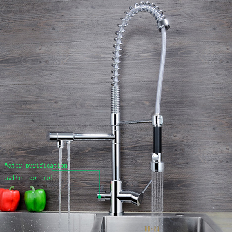 JMKWS Spring Kitchen Faucet Modern Design Kitchen Faucets Brass Chrome Sink Vessel Tap 3 Holes Water Taps Outlet Pull Down Mixer 1