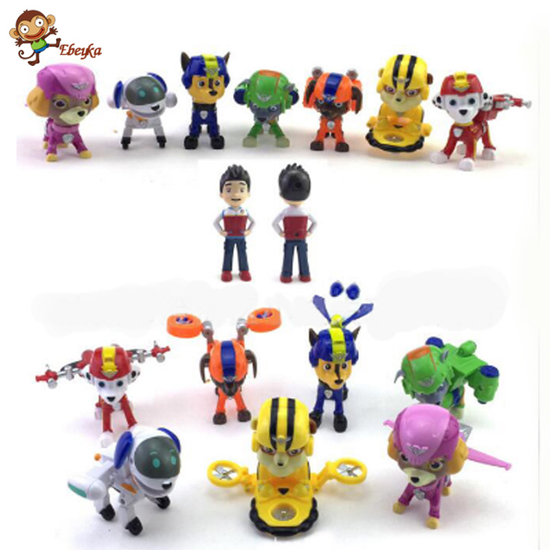 8pcs/set  Puppy patrol dogs catapult machine deformation space/ Action Figure Children Gifts canina kids toys<br><br>Aliexpress
