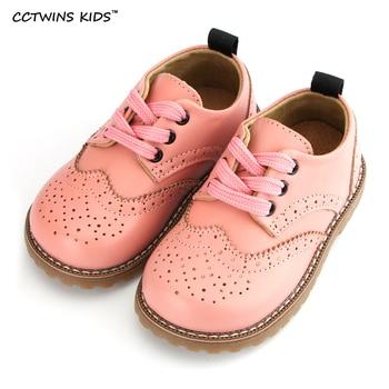 CCTWINS CRIANÇAS 2017 criança primavera outono rosa plana sapato moda bebê da menina da criança de couro genuíno marca loafer oxford branco G9771