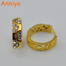 Anniyo Size 1.5cm Earrings for women,dubai fashion jewelry,with rhinestone jewellery girls#G230001