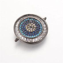 Luxury Micro Pave Zircon CZ steering wheel eye pendant DIY charm beads bracelets bangles jewelry connector Making zxs037(China)