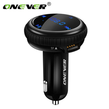 Onever FM Transmitter Bluetooth Modulator Hands Free Car Kit with Car GPS Location Tracking Car MP3 Audio Player USB Charger LED(China)