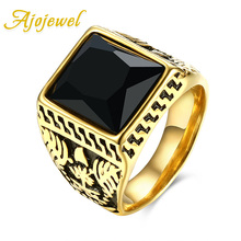 New Ajojewel Trendy Brand Jewelry Vintage Accessories Red / Black Crystal Carving Stainless Steel Gold-color Rings For Men
