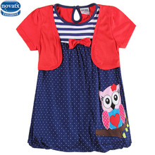 Novatx H6240 kids wear fashion design lovely owl pattern embroidered with dot hemline short sleeves baby girls dress hot selling