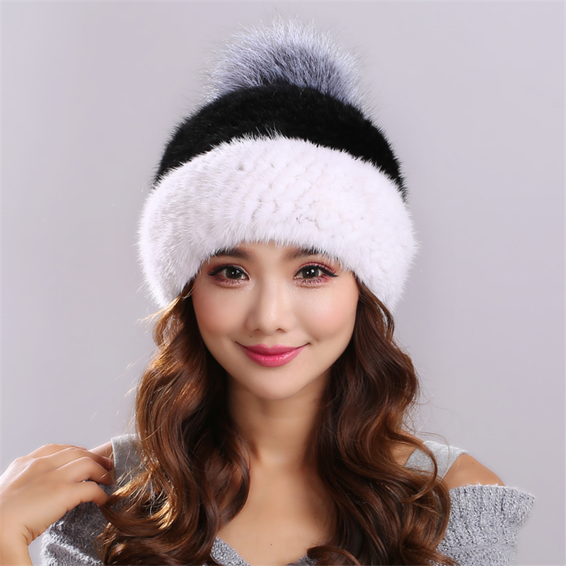 Natural Knitted Minks Fur Hats Female Genuine Winter Women Fur Caps Lady Headgear women Beanies gorros mujer invierno#H9016Одежда и ак�е��уары<br><br><br>Aliexpress