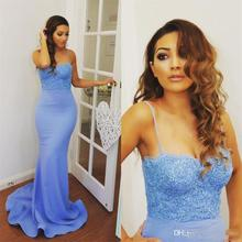 Maid Of Honor Mermaid Bridesmaid Dresses Long Spaghetti Strap Lace Satin Wedding Guest Dress Sweep Train Formal Party Gowns B12