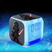 Star Wars movie alarm clock reloj despertador Kids Cartoon night light led digital clock electronic desk clock Child Watch(China)