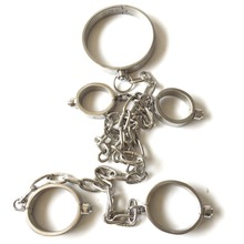 Buy Newest Stainless Steel Shackles Bondage Set Hand Cuffs Ankle Cuffs Neck Collar Slave Bdsm Restraints Adult Games Handcuffs