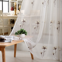 Embroidered Lattice Flower Linen Cotton Curtains For Living Room Sheer Voile Tulle Sheer Curtains Cortinas For Luxury Room