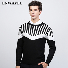 ENWAYEL O Neck Autumn Winter Warm Luxury Pullover Sweater Men Fashion Casual Striped Male Knitted Slim Fit High Quality MS159(China)