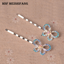 Fashon Butterfly Metal Hair Clips Hairpins Rhinestone Women Mix Color Hair Accessories