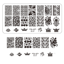 1pcs Nail Art Beauty Stamping Plates for Nail Stencils NEW 12x6cm Flower Lace Image Stainless Steel Manicure Stamp Tools TRBC07